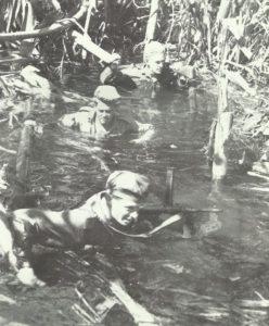 Australische Infanteristen im Sumpf