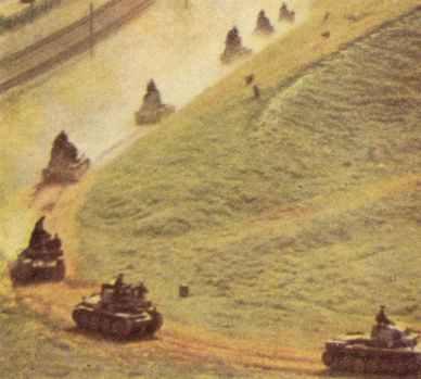 deutsche Panzereinheit attackiert russische Stellung