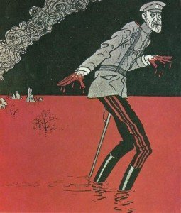 Deutsche Karikatur über Russlands Oberbefehlshaber, Großfürsten Nikolaus