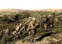 Angriff russischer Infanterie im Fernen Osten
