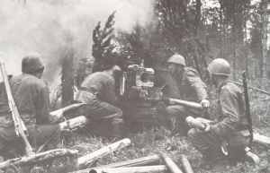 Mannschaft einer finnischen Panzerabwehrkanone