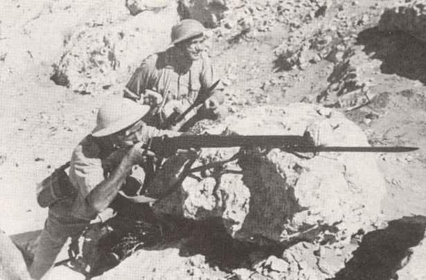Polnische Soldaten, mit Enfield Gewehren bewaffnet