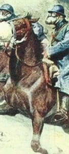 Französische Kavallerie mit Gasmasken