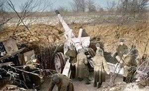 Russische schwere Artillerie