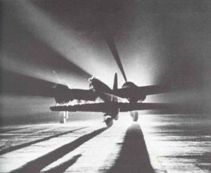 Nachtstart eines deutschen Bombers