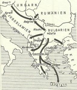 Karte deutscher Angriff auf dem Balkan