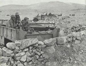 Britische leichte Artillerie auf LKW's