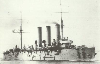 Kreuzer Aurora im Jahr 1910.