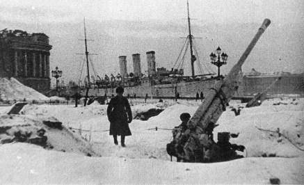 Kreuzer Aurora während der Belagerung von Leningrad