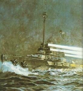 Linienschiff 'Thüringen' im Nachtgefecht