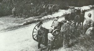 Britische 18-Pfünder-Feldgeschütze gehen in Stellung