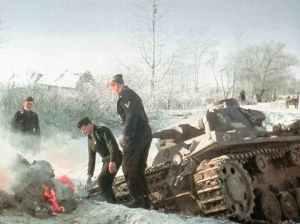 Panzer im Eis vor Moskau