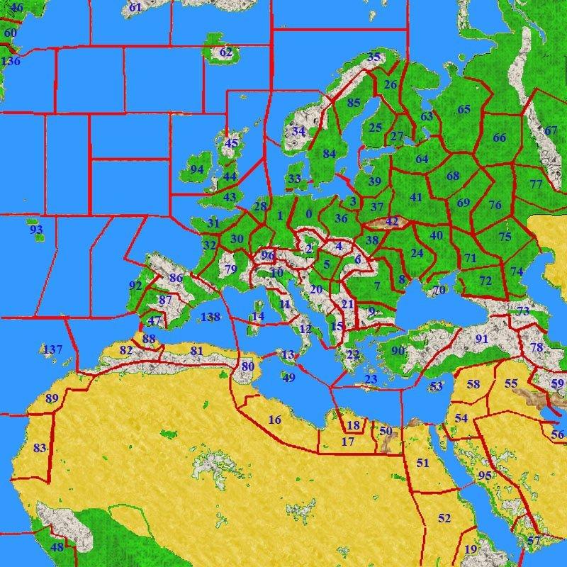 Europa-Karte vom Kriegsspiel WW2 Total