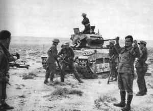 Deutscher Matilda-Panzer kapituliert