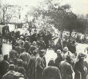 Rückzug der italienischen Truppen nach der Schlacht von Caporetto
