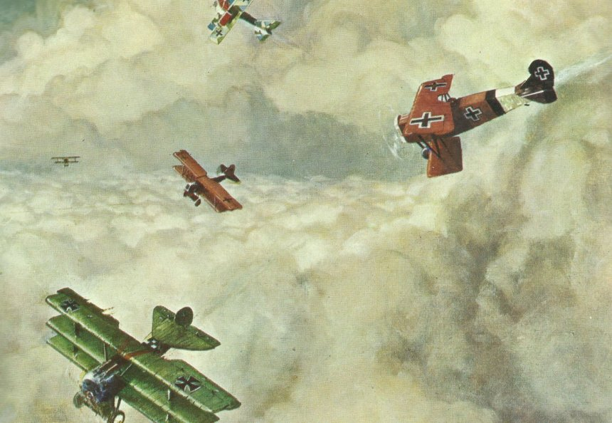 Angriff deutscher Jagdflugzeuge