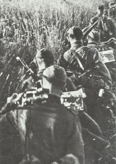 Vormarsch einer Einheit der Polizei-Division