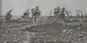 Angriff deutscher Infanterie