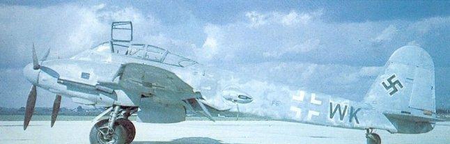 Diese Me 410A-3 wurde von US-Truppen erbeutet und wird hier nach Kriegsende getestet.
