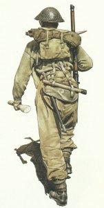 Rückansicht eines britischen Soldaten
