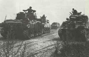 britische Panzerdivision, ausgestattet mit amerikanischen Sherman-Panzern