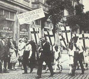 Protestkundgebung unter dem Motto 'Diese deutschen Städte raubte Polen'