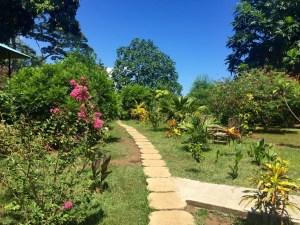 Die Bungalows stehen in einer wunderbar grünen Gartenanlage.