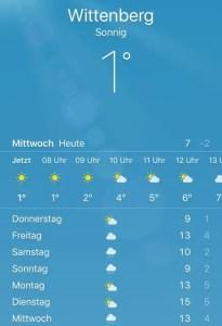 Wetter-App Screenshot Wittenberg