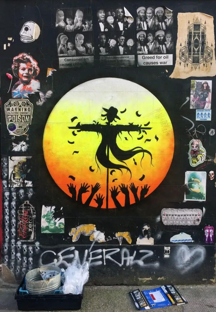 Bird Scarer with Fan Group - Street Art, orb style, by Otto Schade, London
