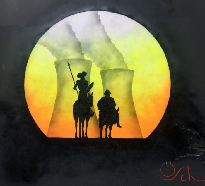 Don Quijote riding away from a Nuclear Power Station - Street Art, orb style, by Otto Schade, London
