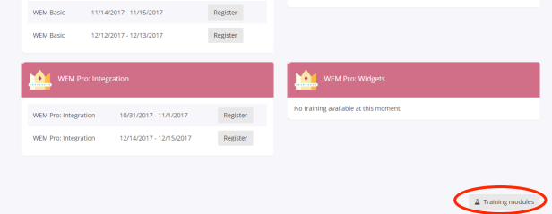 My WEM - Training Modules button