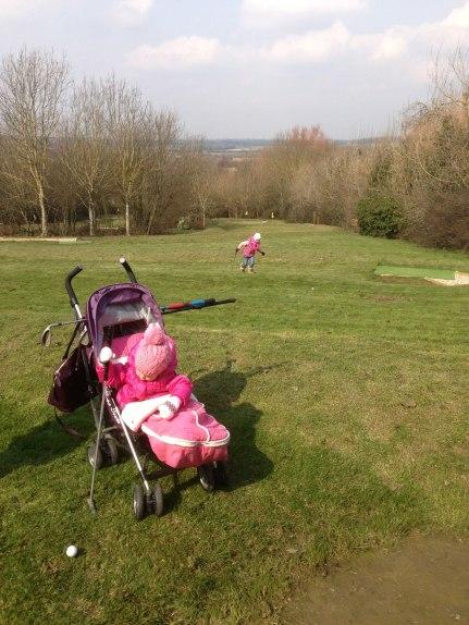 Playing mini golf
