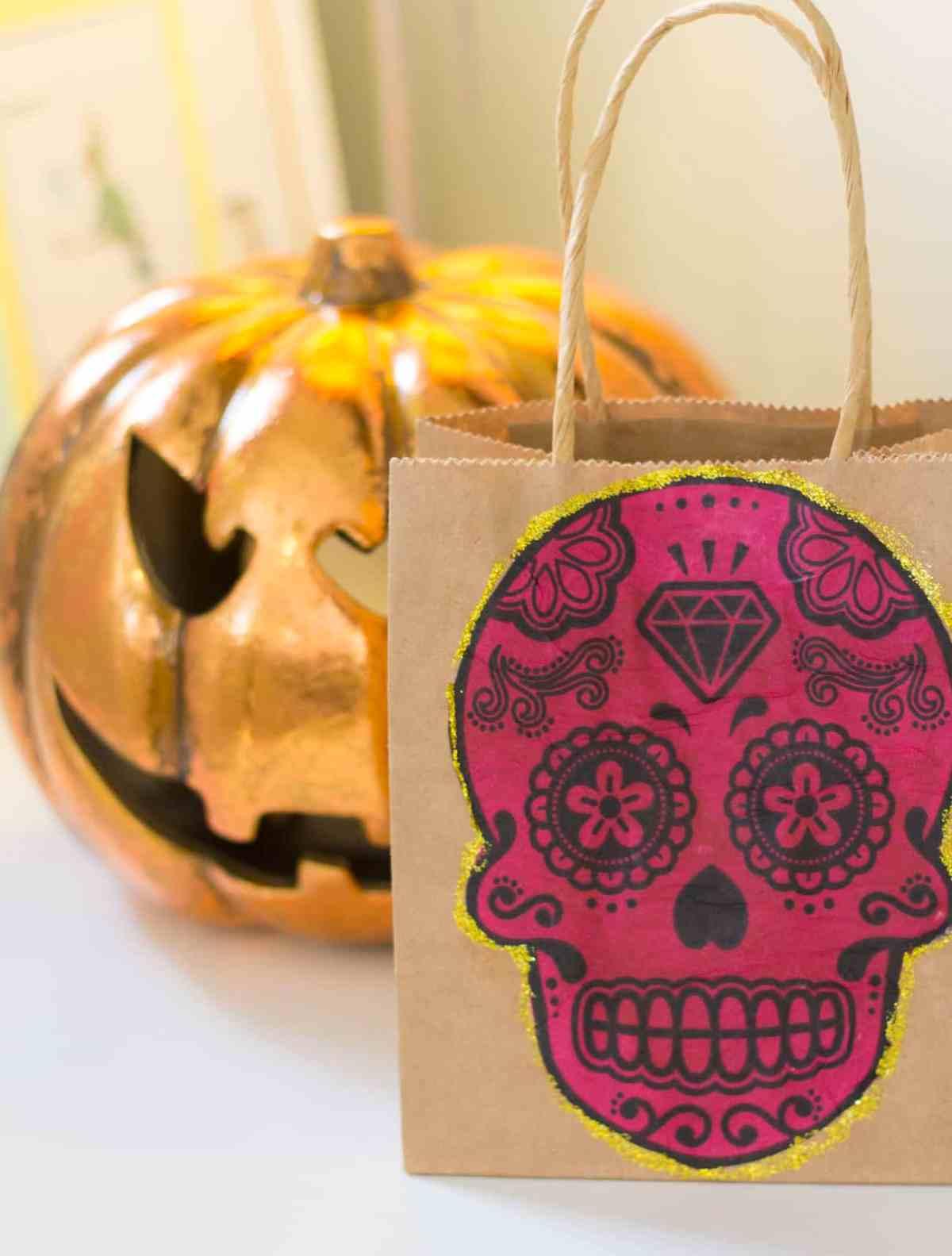 decoupage halloween trick or treat bag