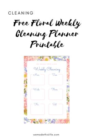 Free Floral Weekly Cleaning Planner Printable