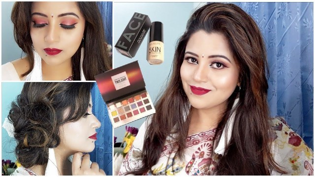 Bengali Eye Makeup Pohela Boishak Makeup Hairstyle Tutorial 2018 Red Eye Shadow