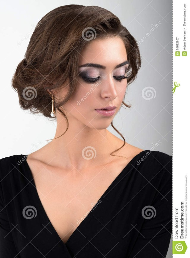 Eye Makeup For Black Dress Close Up Portrait Of Brunette With Evening Makeup And Collected Hair