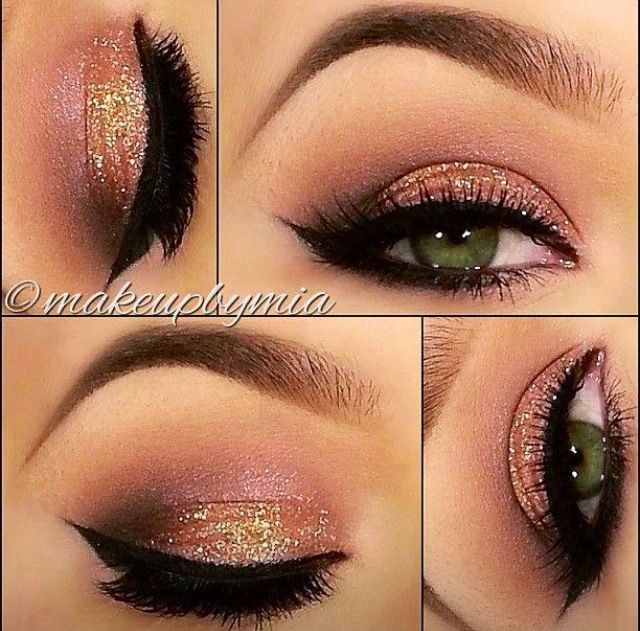 Eye Makeup For Coral Dress A Collection Of 40 Best Glitter Makeup Tutorials And Ideas For 2019