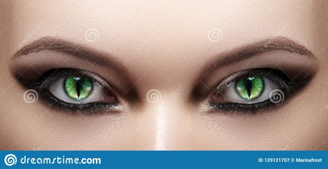 Halloween Cat Eye Makeup Close Up Of Woman Eyes Halloween Makeup Cat Eye Lens Fashion