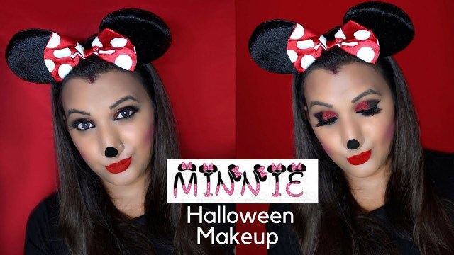 Minnie Mouse Eye Makeup Minnie Mouse Halloween Makeup Smokey Red Black Glitter Eye Look