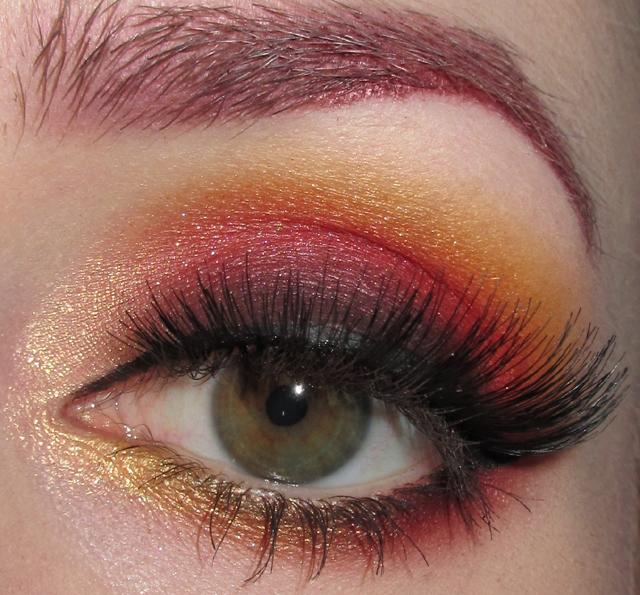 Monarch Butterfly Eye Makeup Glitter Is My Crack Gradient Black Red Orange Yellow Smoky