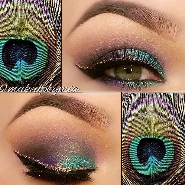 Peacock Inspired Eye Makeup Peacock Inspired Eye Makeup Makeupmia Beautytipsntricks