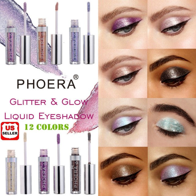 Shiny Eye Makeup 12 Colors Eyeshadow Liquid Waterproof Glitter Eyeliner Shimmer