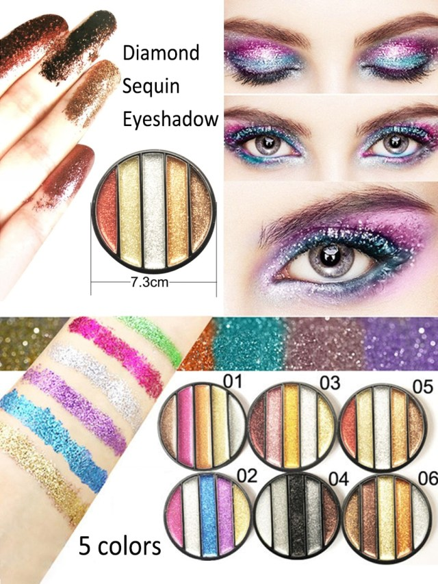 Shiny Eye Makeup Buy Cmaadu Shadow 5 Colors Glitter Eye Shadow Powder High Gloss