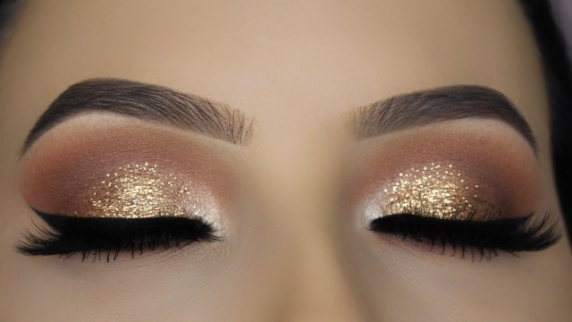 Shiny Eye Makeup Classic Brown Glitter Eye Makeup Tutorial Youtube