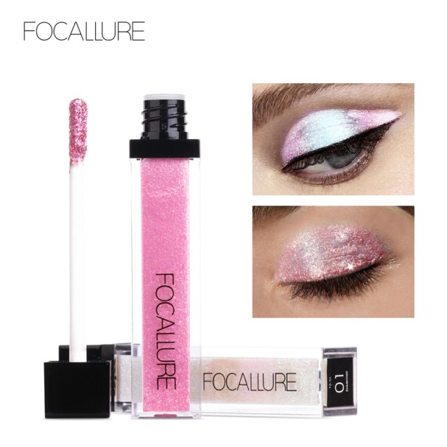 White And Pink Eye Makeup Focallure New Pro 10 Colors Shiny Eyeshadow Brand Makeup Waterproof