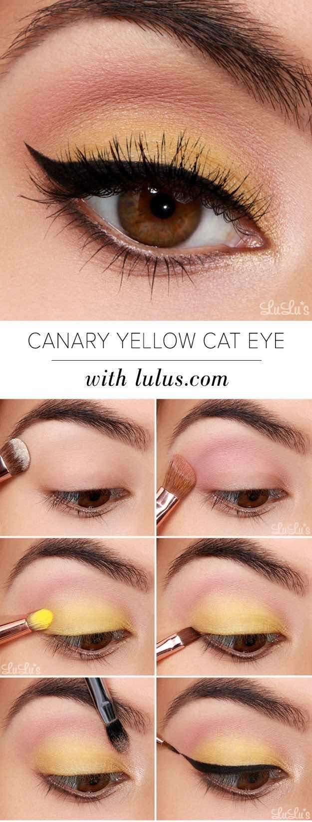 Yellow And Black Eye Makeup Best Ideas For Makeup Tutorials Yellow Shadow With Black Flick