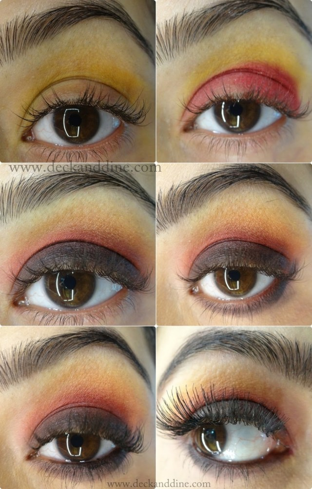 Yellow And Black Eye Makeup Step Step Tutorial Autumn Burnt Red Yellow Black Eye Makeup