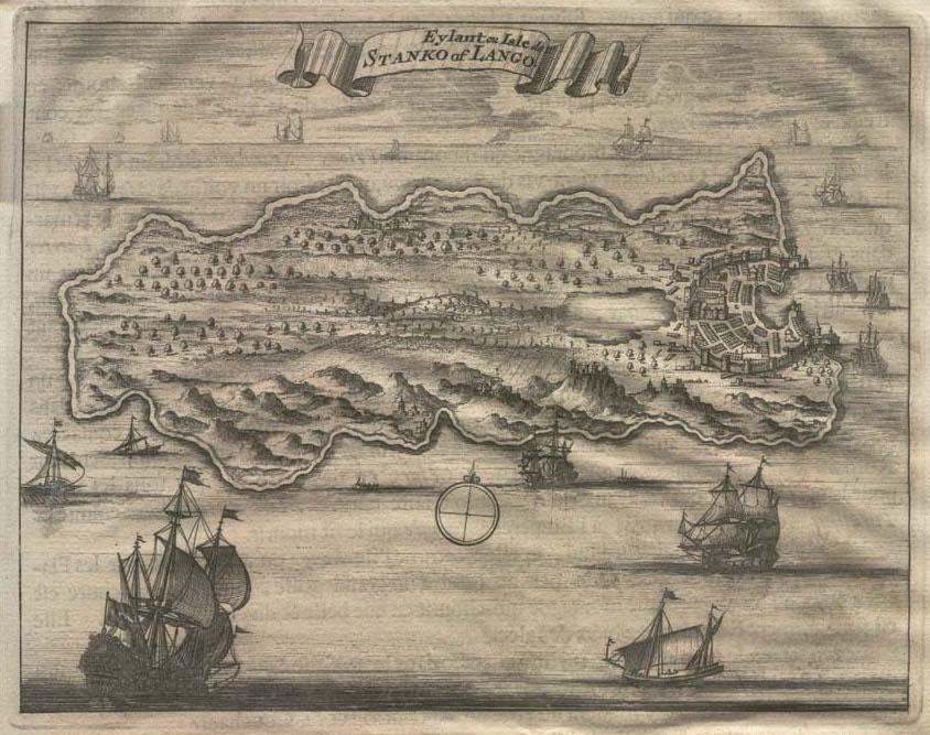 Antique Engraved Map of Kos by Olfert Dapper 1702
