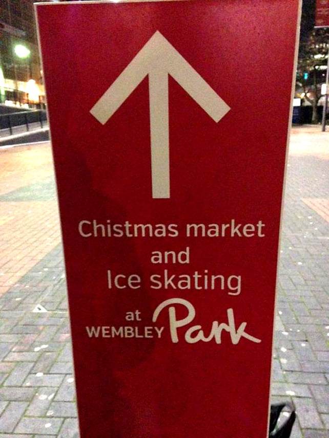 typo in Wembley Christmas market signage