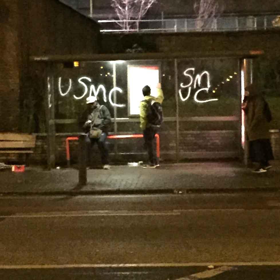 Spurs fans deface Wembley French school bus stop